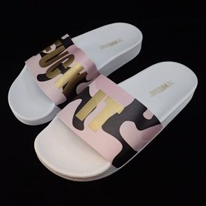 The White Brand F*ck It Camo Pink Sandals 36 - New